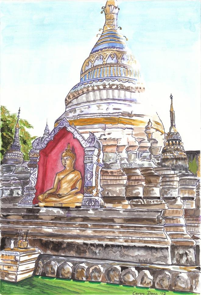 Wat Buppharam, Chiang Mai. Pen & wash, by Caron Eastgate Dann.