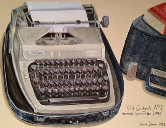 Old Gadgets No. 1: my manual typewriter, bought in Bangkok, 1991. On the case is the German version of my novel, The Occidentals (Das Erbst Der Schwestern). I wrote the first draft of this novel many years before it was published, on this typewriter. Acrylics on board.