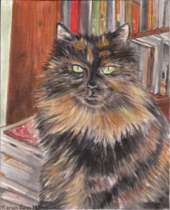"Lucy Locket stars as ""A Bookish Cat"" in a pastel painting I did of her this week."