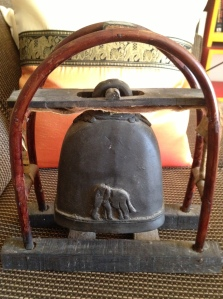 The remaining framed elephant bell. The other bell, minus its frame, is now a perfect doorstop.