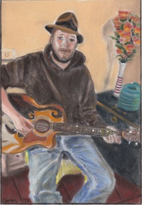 """The Musician"", pastel painting of Vorn Doolette, by Caron Eastgate Dann"