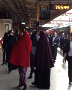 Platform 1, Flinders St station: Yes, it's 7.55am and I am rushing to my second train connection of the day. Picture: Caron Dann