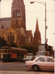 St Paul's Cathedral, Melbourne CBD, 1981: scenes like this impressed me enough as a teenager to make me move to Melbourne in my 20s.