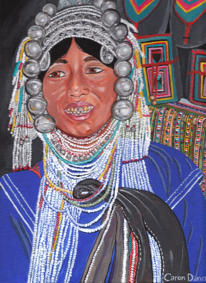 Akha hilltribe woman, Doi Suthep, Thailand, 1991, by © Caron Eastgate Dann, 2011. Acrylics on canvas board.