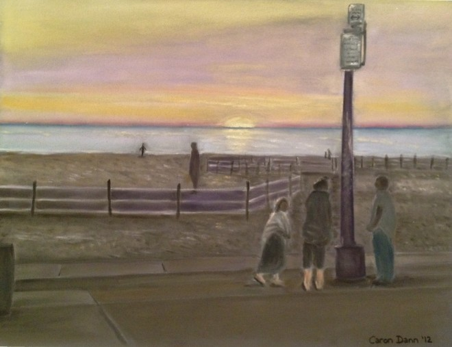 'Venice Beach, sunset', pastel painting © Caron Eastgate Dann, 2012