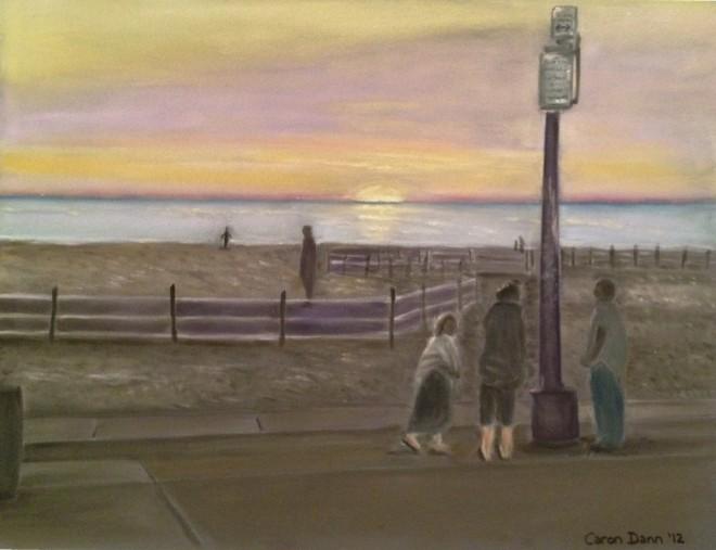 'Venice Beach, sunset', pastel painting © Caron Eastgate Dann, 2012