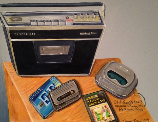 Old Gadgets #3: Panasonic cassette player-recorder, 1973; Sony Walkman, 2000. Acrylics and Faber-Castell Pitt artist pens on treated board.By Caron Eastgate Dann, 2013.