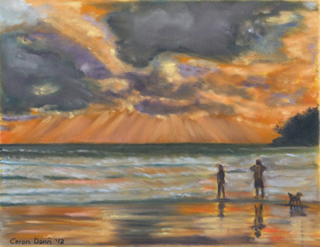Even if you can't afford a trip to a beach like this at Phuket, Thailand, you can still take a vacation at home. Painting in PanPastels on board, ©Caron Eastgate Dann, 2012.