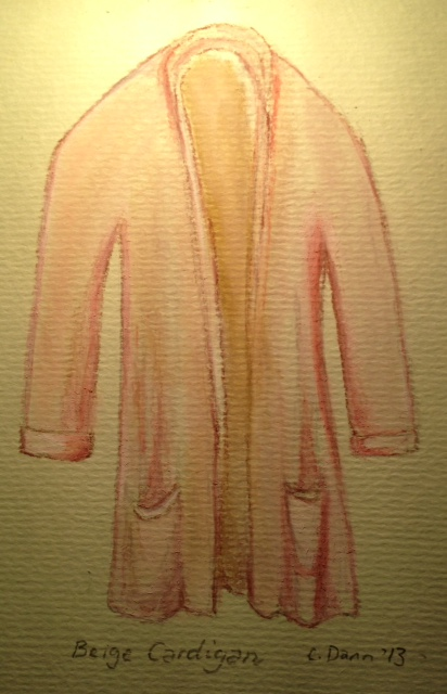 """Beige cardie in sanguine, sepia, burnt sienna, raw umber and titanium"". PanPastels and Charcoal on pastel paper. © Caron Eastgate Dann, 2013"