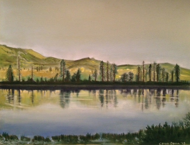 My painting from a photo taken during the Rocky Mountaineer journey, Vancouver-Kamloops leg. PanPastels on treated board. ©Caron Eastgate Dann 2013