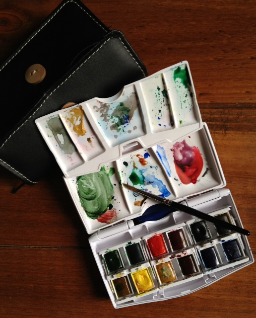 My Winsor & Newton travelling water colour set. Picture by Caron Eastgate Dann