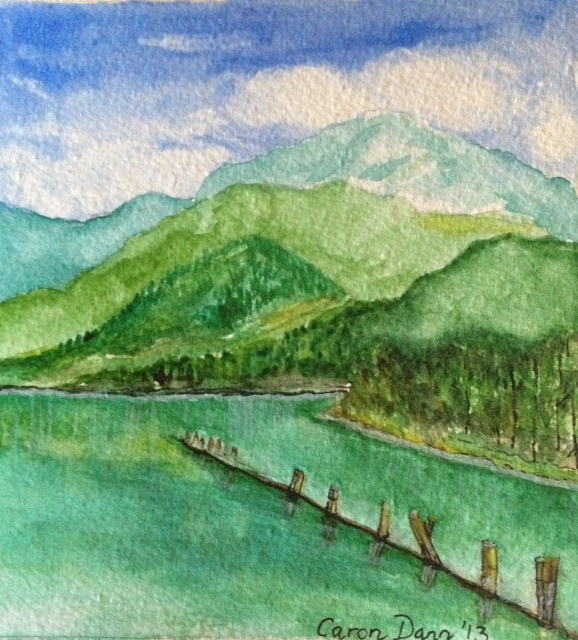 My water colour painting of a scene early in my Rocky Mountaineer train journey from Vancouver to Banff. ©Caron Eastgate Dann 2013