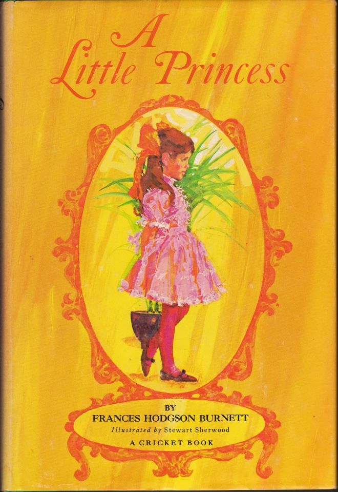 My edition of The Little Princess was published by Platt & Munk in 1967, though I didn't buy it until 1975. The dust jacket says the artist is Stewart Sherwood, a 24-year-old Canadian, who despite his youth had already won many awards for advertising art and had been published in books and magazines across the US and Europe. (Googling Sherwood reveals he is still an artist, painting designs for books, cards and collectable plates. You can see more of his artwork here). This is why I always like books with dust jackets: they contain information not elsewhere in the book. One library I frequent infuriates me by removing all the dust jackets, instead of covering them and leaving them with the book.
