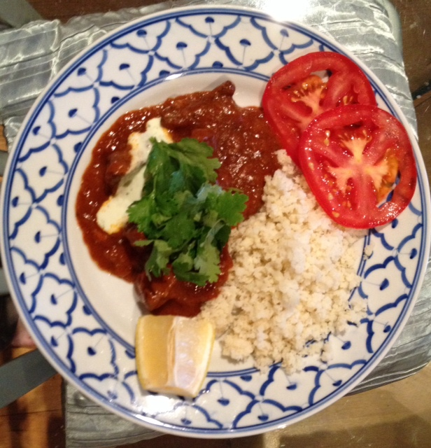 My rogan josh, complete with cauliflower rice.