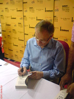 Archer signs books in Bangalore, India, 2009. Picture: Mike Lynch.