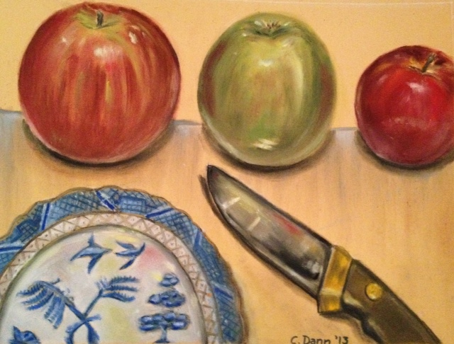 """Apple Day"", PanPastels on treated paper. The apples were three different varieties I bought for this picture. The willow-pattern china was given to me by my late grandmother.  ©Caron Eastgate Dann, 2013"
