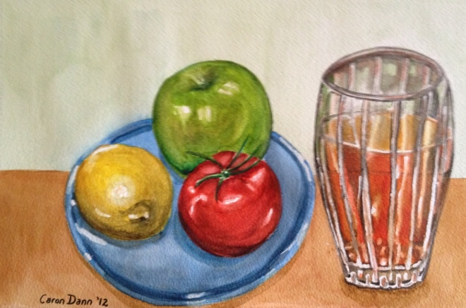 """Fruity Still Life"", watercolours on paper. This was just a quick sketch, and I'm not very experienced in watercolours, so it's rather wonky: but I don't mind that! ©Caron Eastgate Dann, 2012"