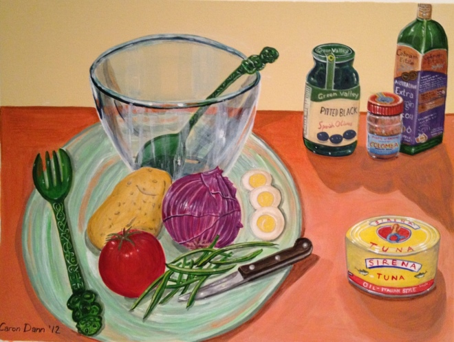 """Making Salad Niçoise"", acrylics on treated board. This picture includes my favourite salad servers, plastic tiki-decorated souvenirs from New Zealand.  ©Caron Eastgate Dann, 2012 ©Caron Eastgate Dann, 2012"