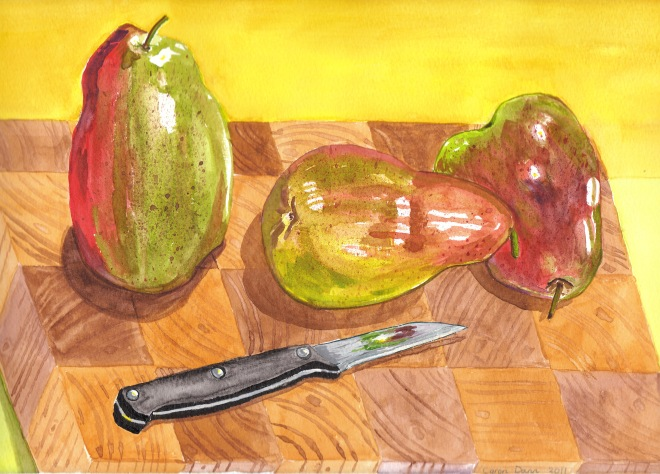 """Pear-Shaped"", watercolour. I bought these beautiful pears in season and couldn't resist painting them. This was my first attempt at a watercolour painting. © Caron Eastgate Dann 2011"