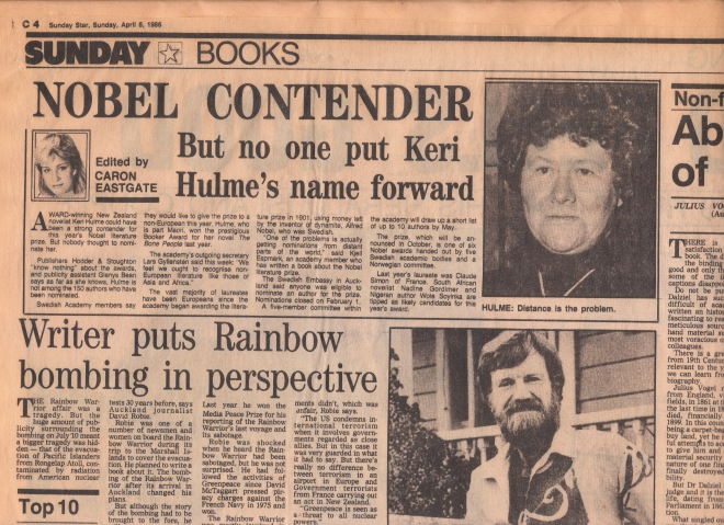 An example of my Sunday Star books page from 1986. Unfortunately, I no longer have a clipping of my Jeffrey Archer interview.