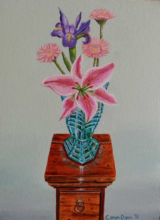 """My Mother's Mysterious Vase"", oils on canvas, painted by Caron Dann, 2011."