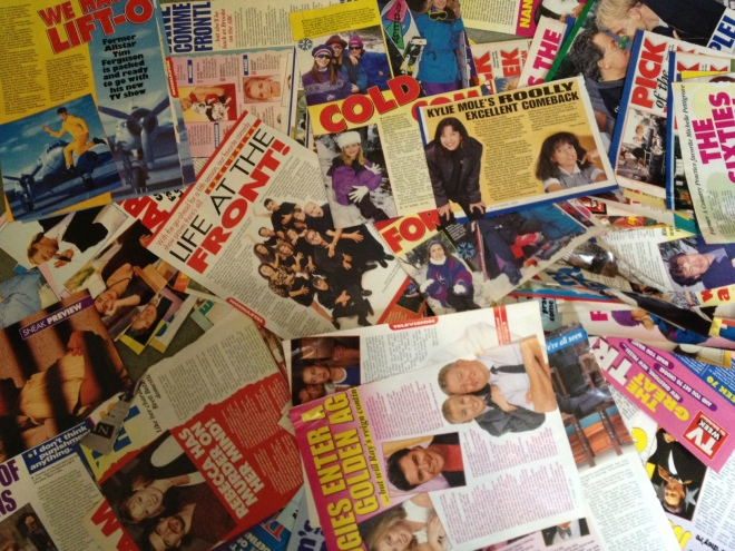 There's my interview with Tim Ferguson for Don't Forget Your Toothbrush. You can just see it on the upper left of this collage of stories I did for TV Week in the 1990s