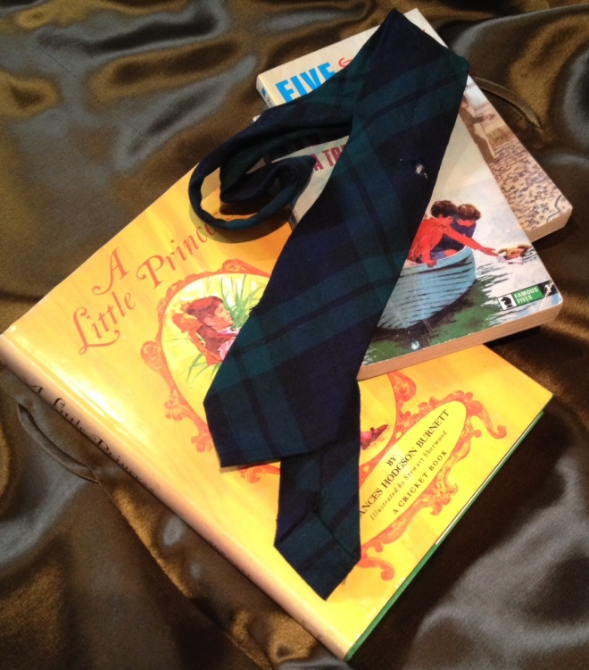 My old school tie, slightly the worse for wear now, with some of my favourite books from childhood, saved (luckily) for decades by my mother.