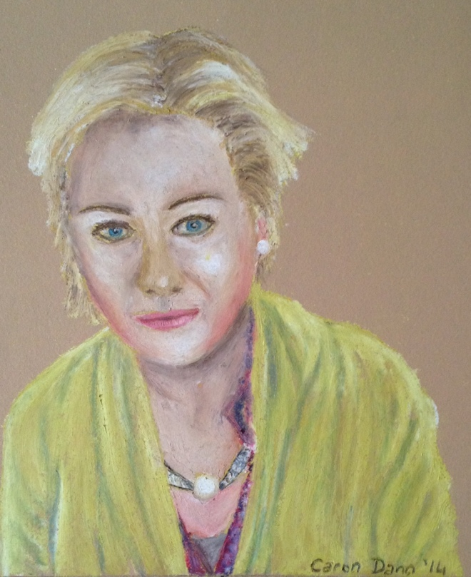 """Selfie in oil pastels"", by Caron Eastgate Dann"