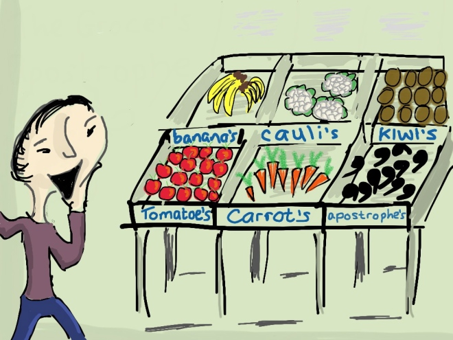 "Cartoon courtesy Juliet Fay,  ""How the Grocer's Apostrophe led to generations of confused writers"""